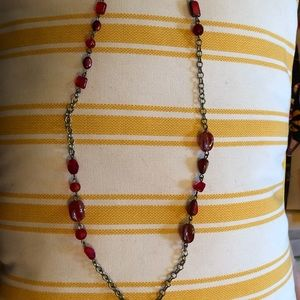 OOAK red glass bead necklace